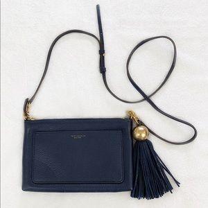 Tory Burch Leather Tassel Crossbody Navy Blue
